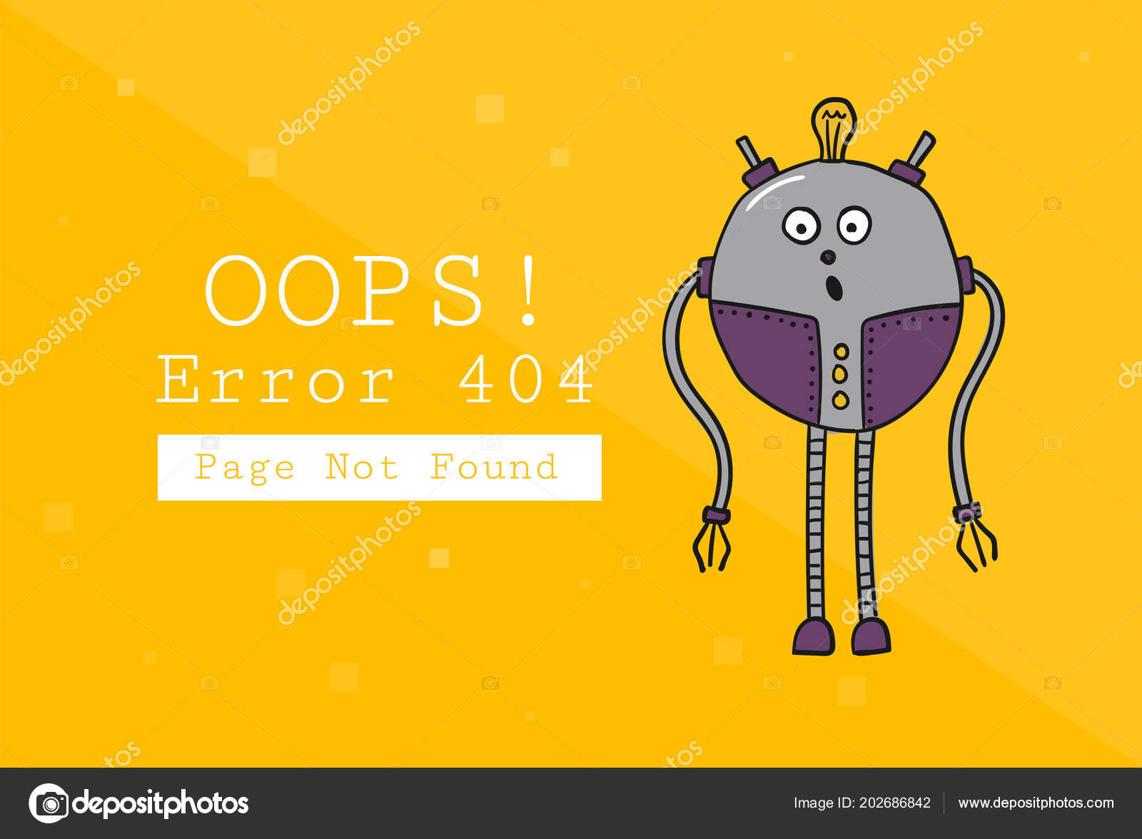 Error 404  Page not found  Design template with text and