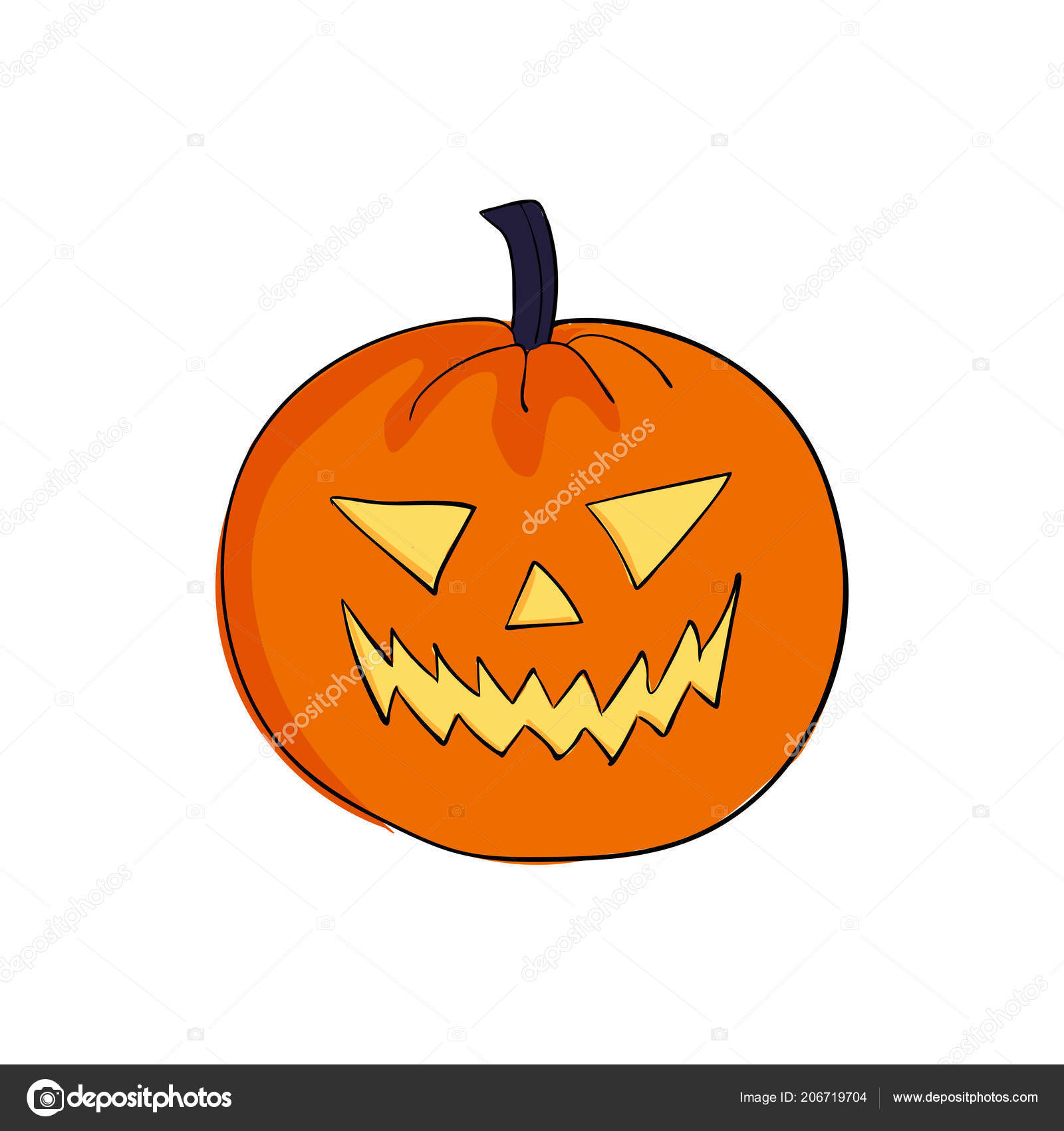 Halloween Pumpkin Angrily Smiles Scary Face Cartoon Style Stock