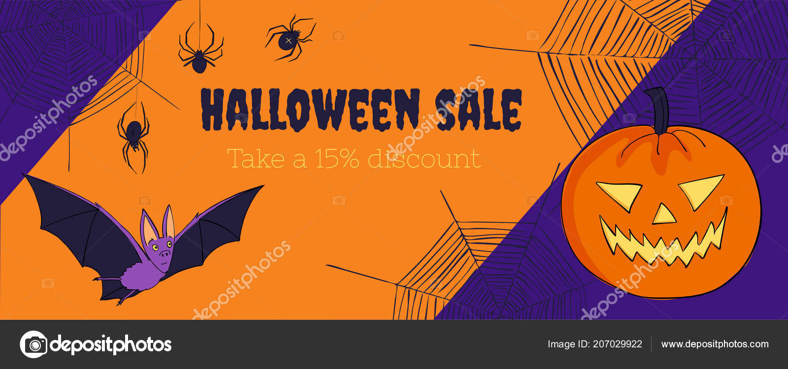 halloween sales web banner template discount voucher image with