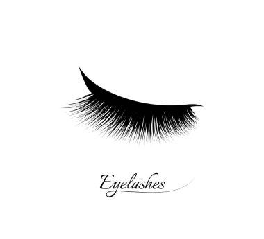 Eyelash extension. Beautiful black long eyelashes. Closed eye . False beauty cilia. Mascara natural effect. Professional glamor makeup. Logo
