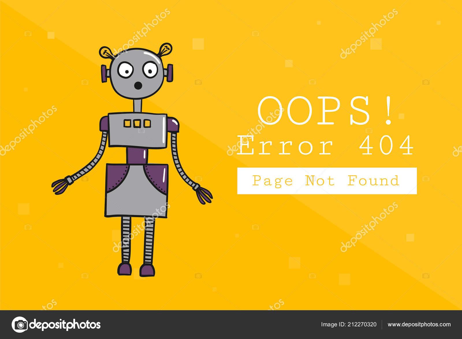 Error 404 Page Found Design Template Text Robot Illustration