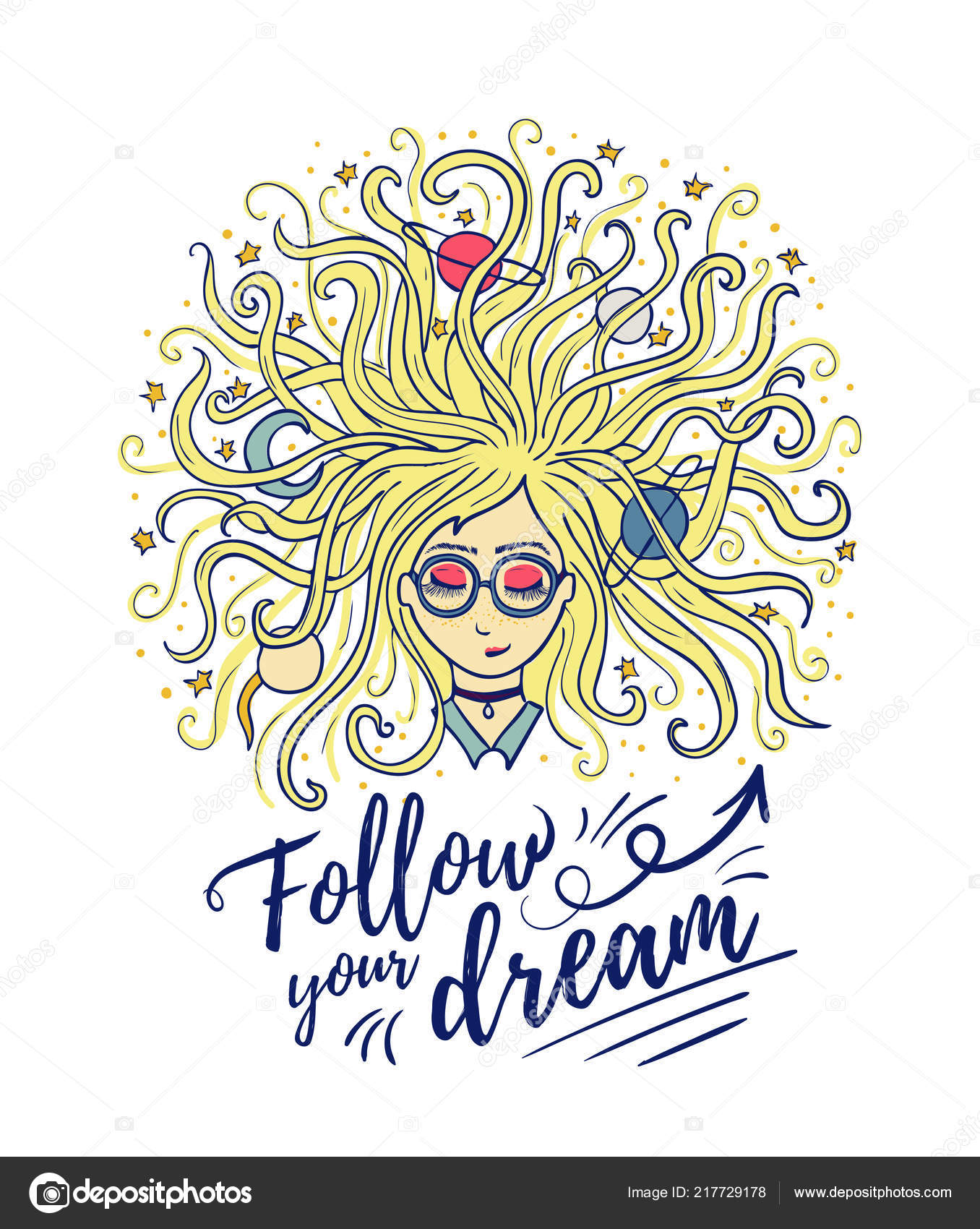 Dreamer The Girl Dreams With Closed Eyes The Blonde Hair Of The