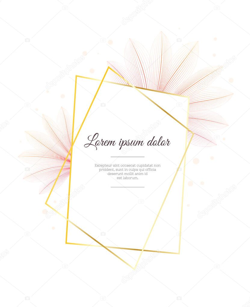 Floral design template. Flower x-ray effect. Greeting card ot advertising banner