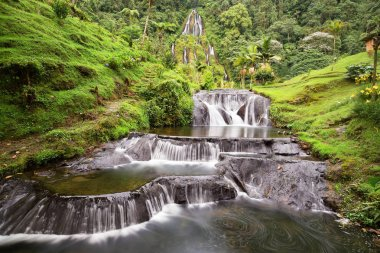 Long exposure view of the waterfall near the Santa Rosa Thermal Spa in Santa Rosa de Cabal in Colombia.