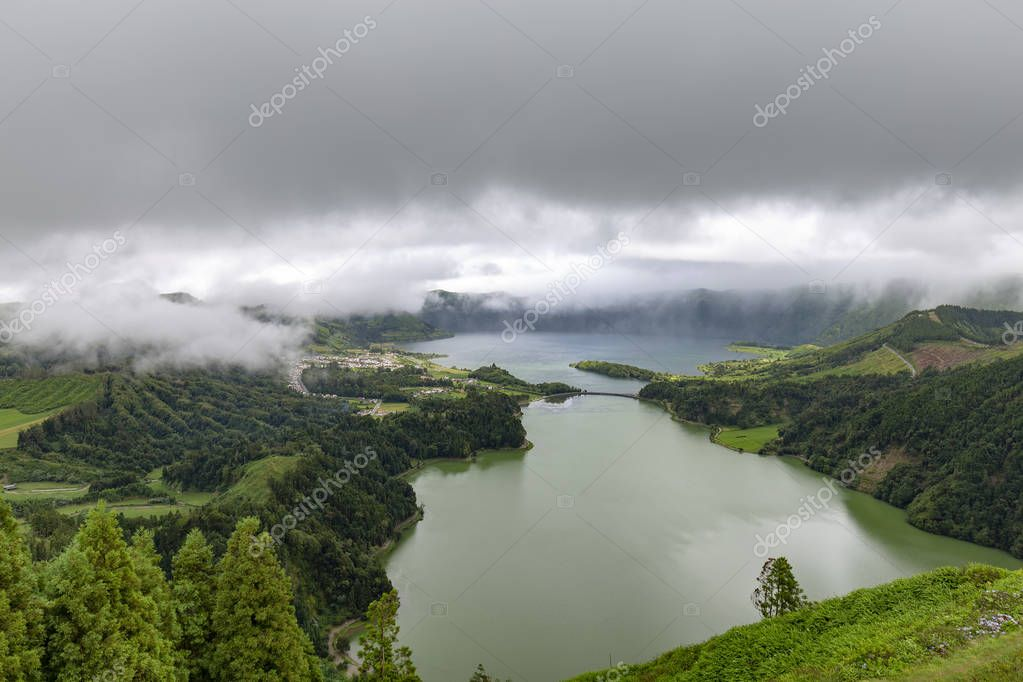 View of Lagoa Verde from the Miradouro da Visa do Rei in Sao Miguel, Azores.