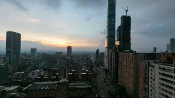 A timelapse of day to night in downtown Bogota.