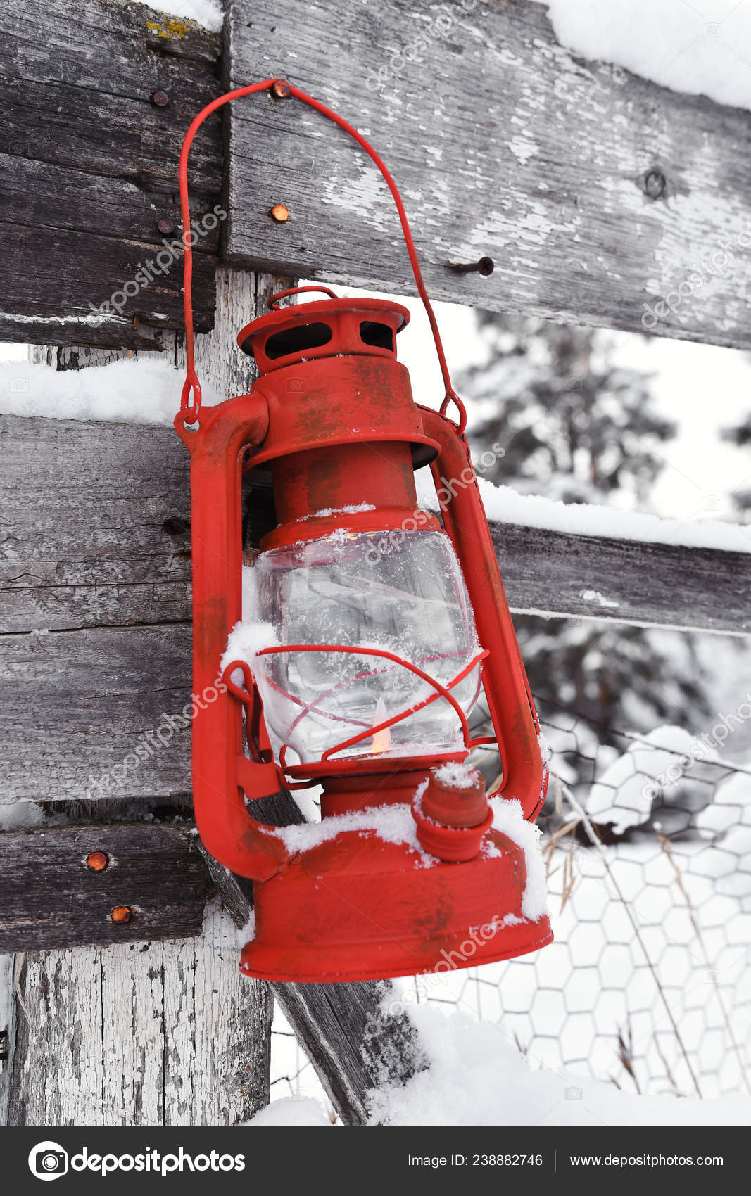 Close Image Old Red Decorative Lantern Stock Photo