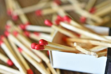 A close up image of several wooden match sticks,
