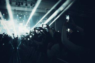 MINSK, BELARUS - 20 SEPTEMBER, 2018: Crowd at concert - retro st