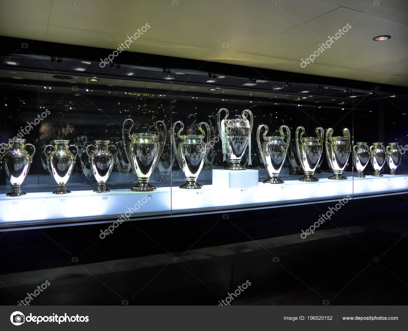Museo Real Madrid.Madrid Spain March 2018 Detail European Cups Awards Museum Real
