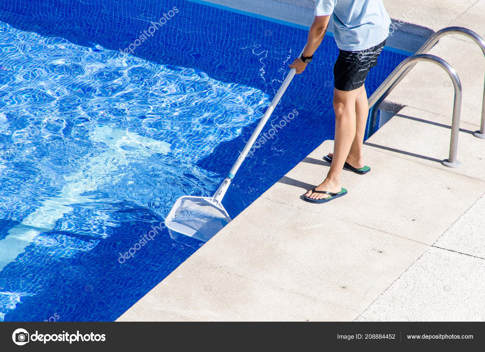 Boy Flip Flops Cleaning Swimming Pool Net — Stock Photo ...