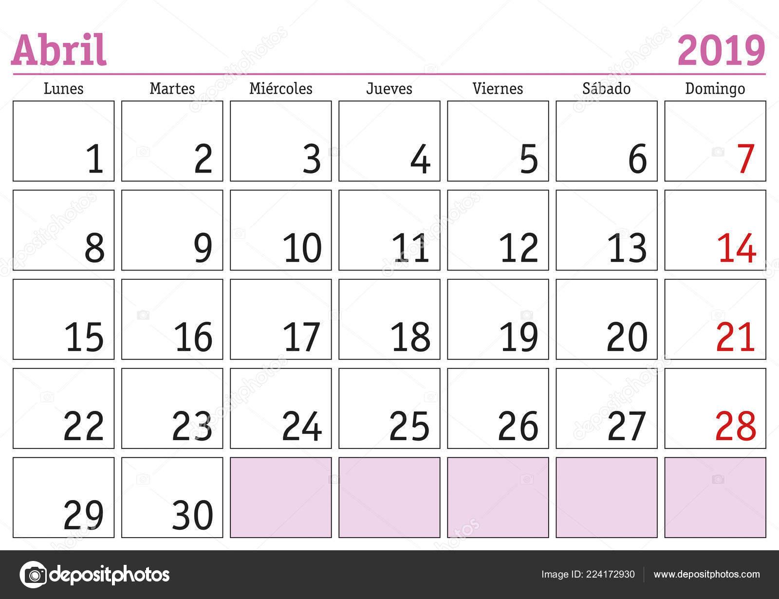Calendario Spagnolo.Calendario Mese Aprile