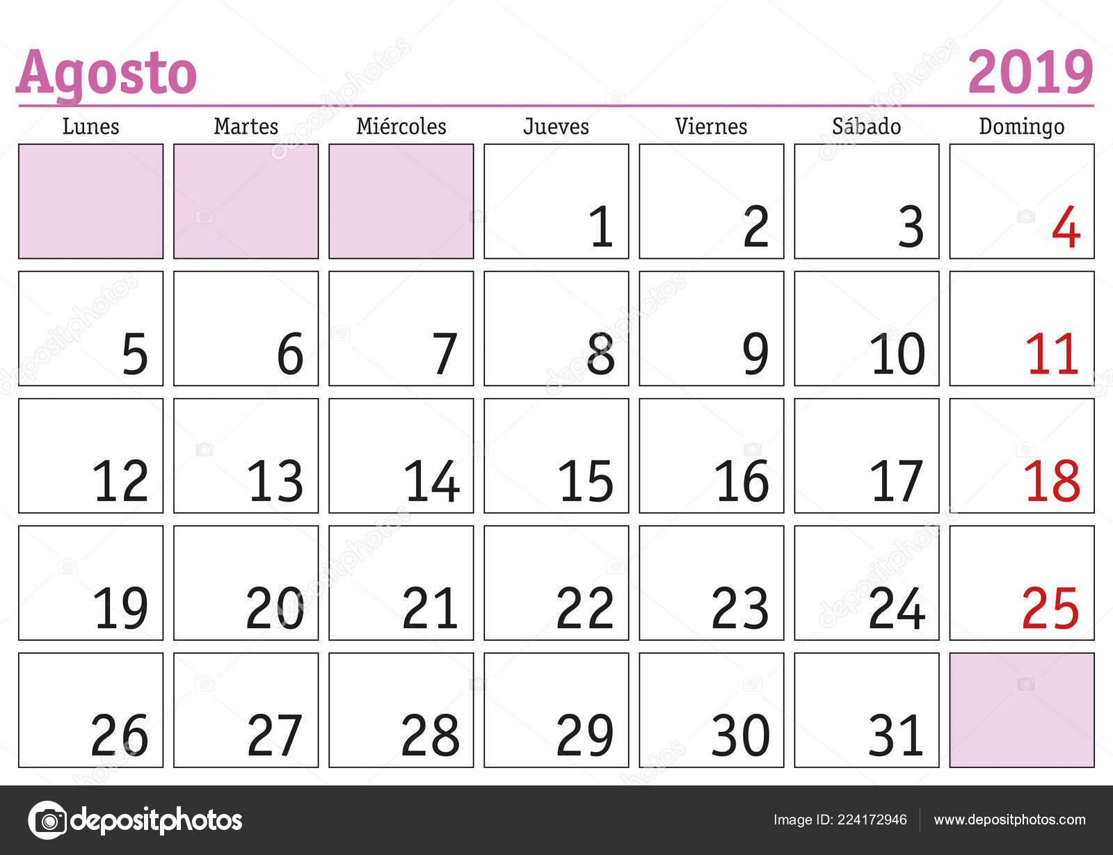 Calendario 2019 Mes A Mes.August Month Year 2019 Wall Calendar Spanish Agosto 2019 Calendario