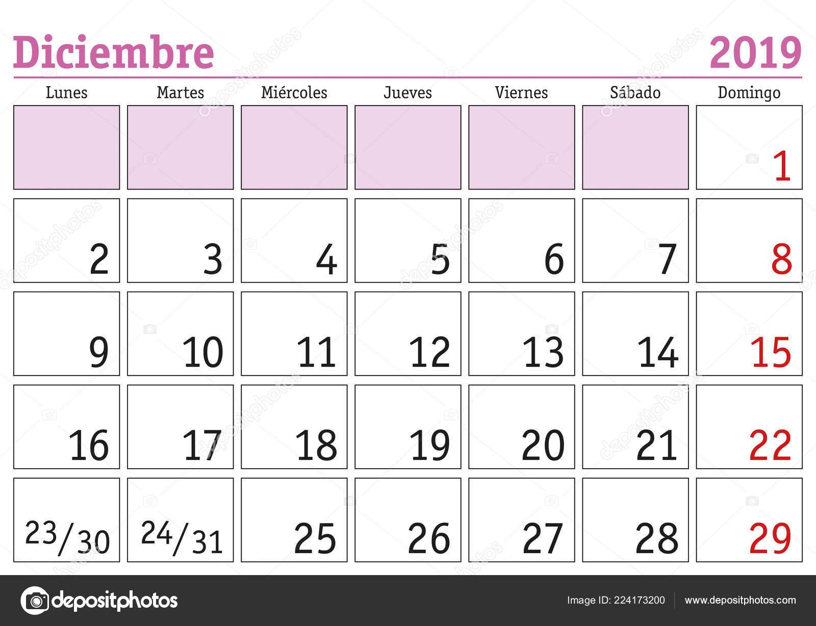 Calendario Mese Dicembre 2019.Mese Dicembre Calendario Parete Anno 2019 Spagnolo Diciembre