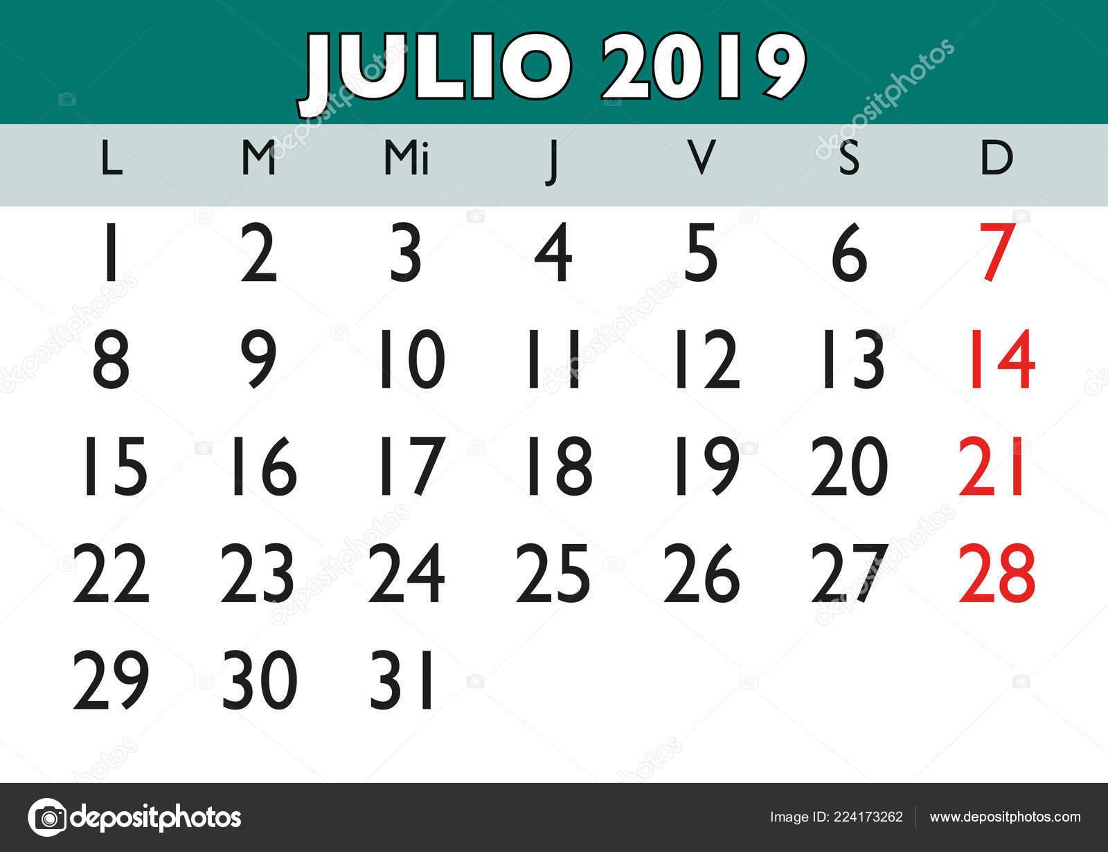 Julio Calendario 2019.July Month Year 2019 Wall Calendar Spanish Julio 2019 Calendario