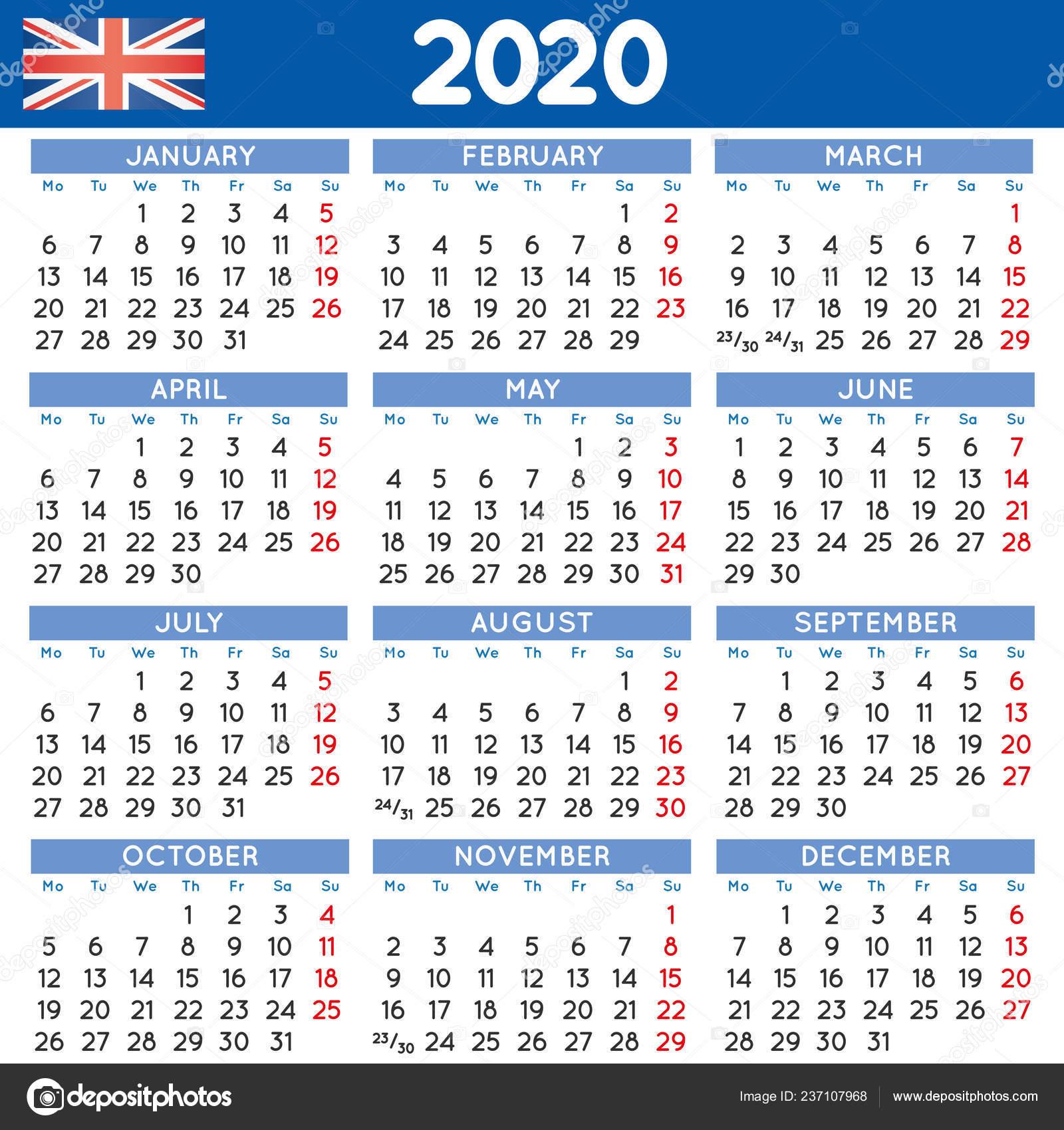 Settimane Calendario 2020.2020 Elegante Quadrato Calendario Inglese Calendario Anno