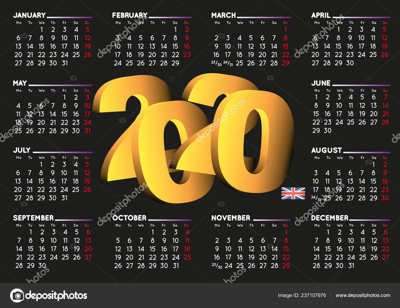 Calendario 2020 Semanas.Calendario 2020 Preto Ingles Calendario Ano 2020 Calendario