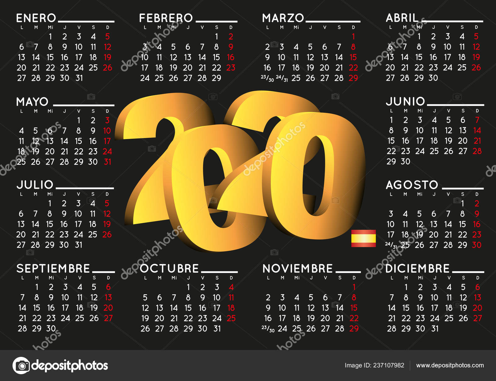 Vector De Calendario 2020.2020 Elegant Black Calendar Spanish Year 2020 Calendar