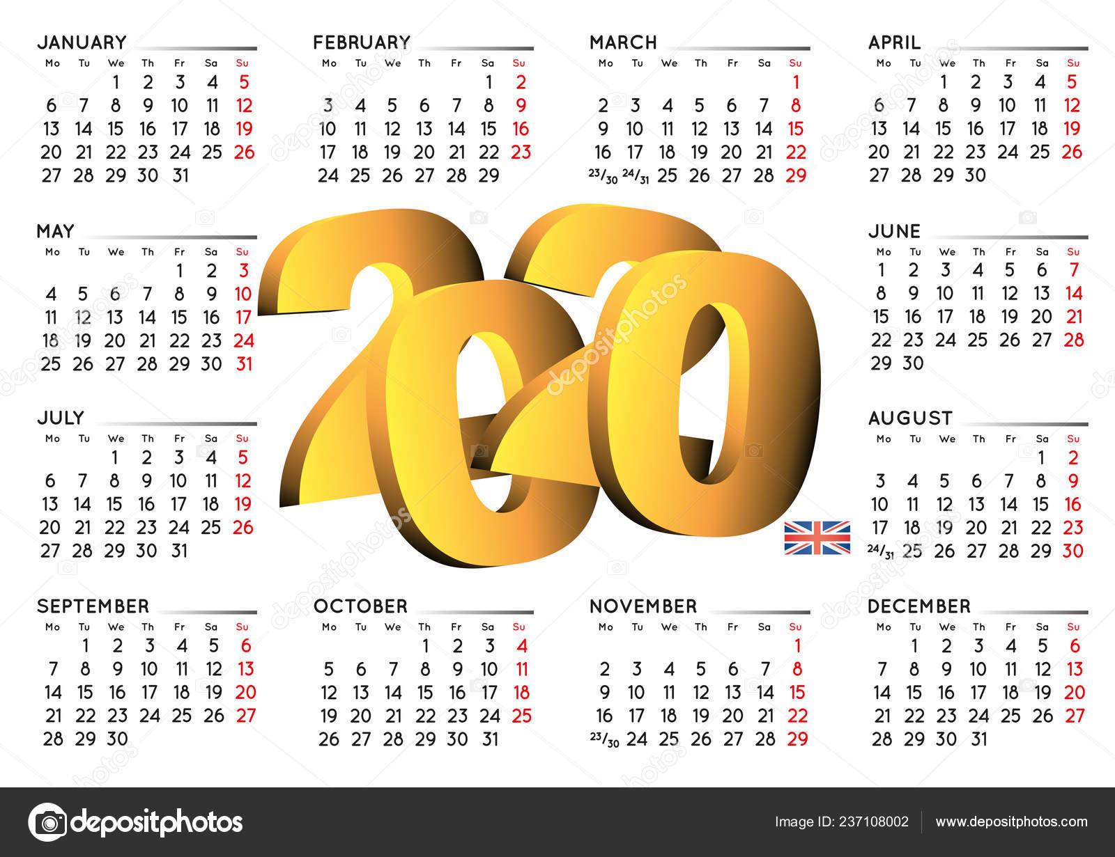 Anno Calendario 2020.2020 Calendario Inglese Calendario Anno 2020 Calendario 2020