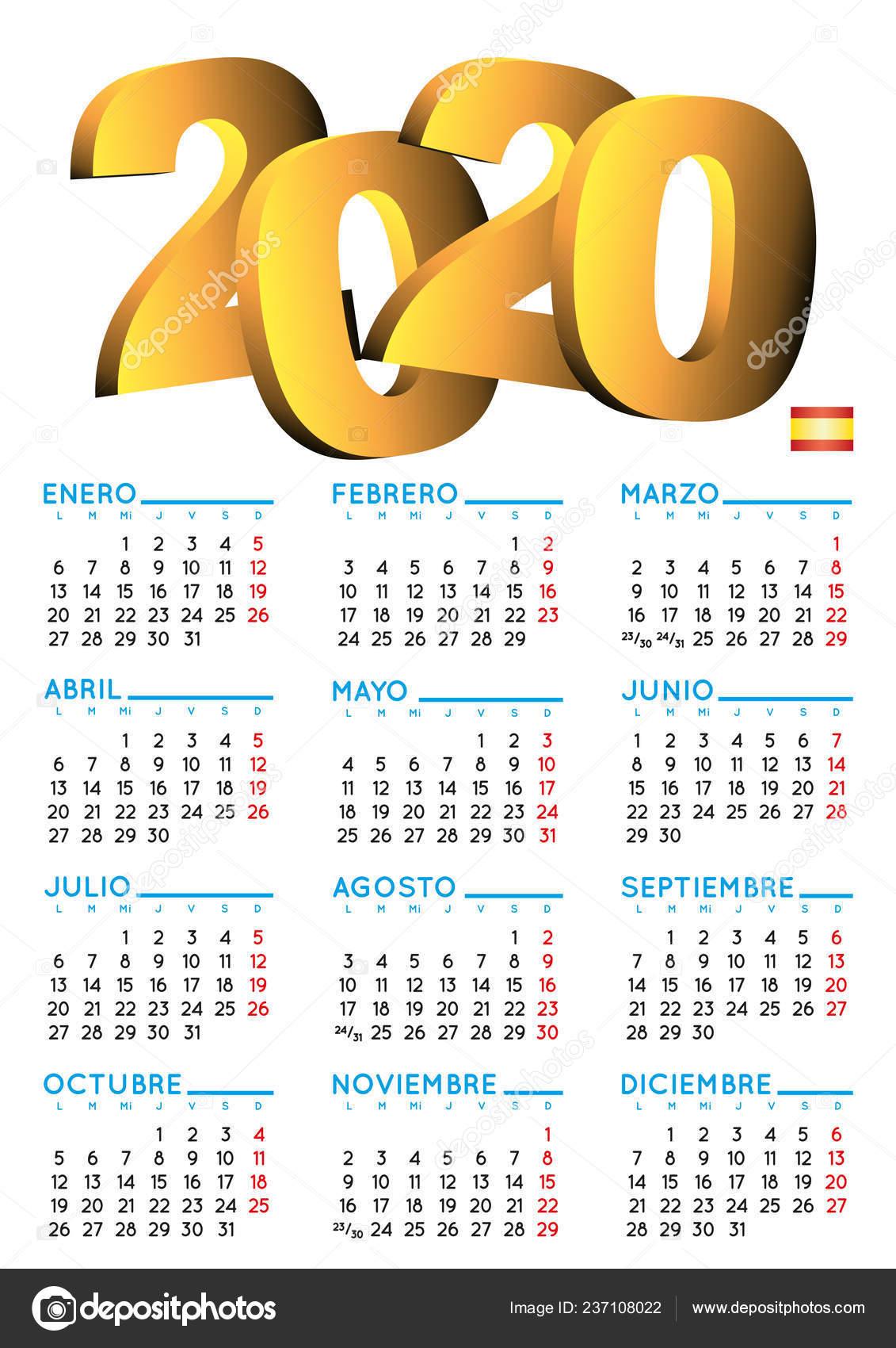 Ano 2020 Calendario.Calendario Espanol 2020 Calendario Del Ano 2020 Calendario