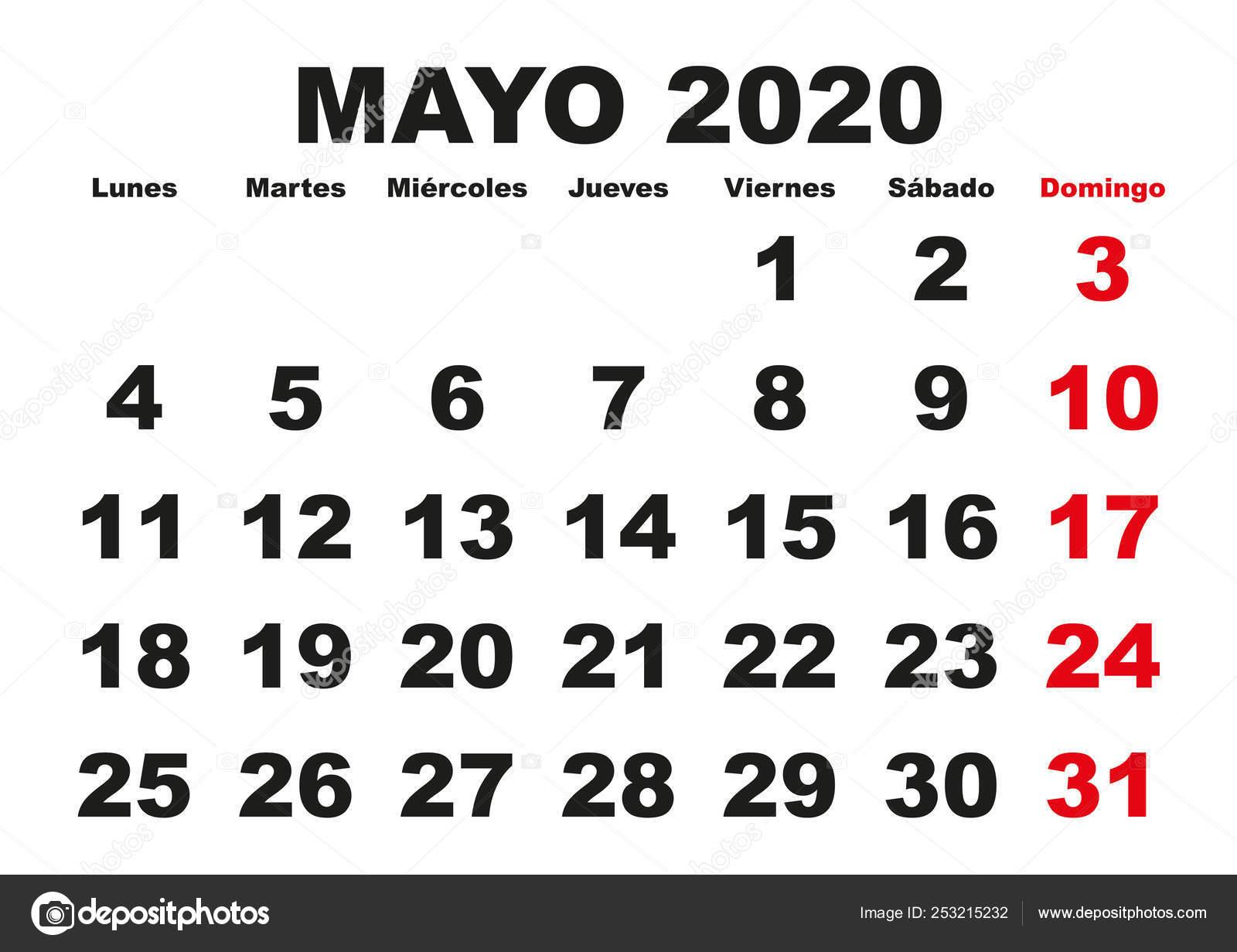 Calendario Mese Di Maggio 2020.Parete Di Mayo 2020 Calendario Spagnolo Vettoriali Stock