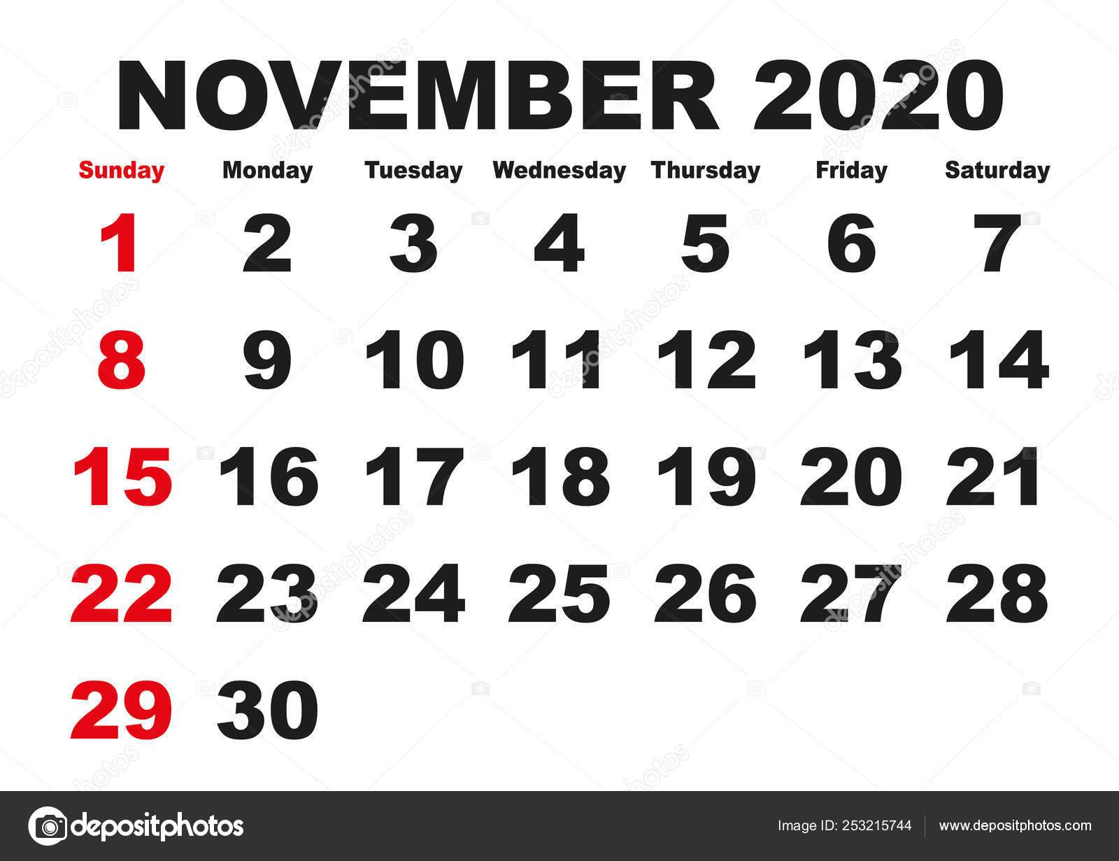 Novembre 2020 Calendario.Calendario Mensile Novembre 2020 Inglese Usa Vettoriali