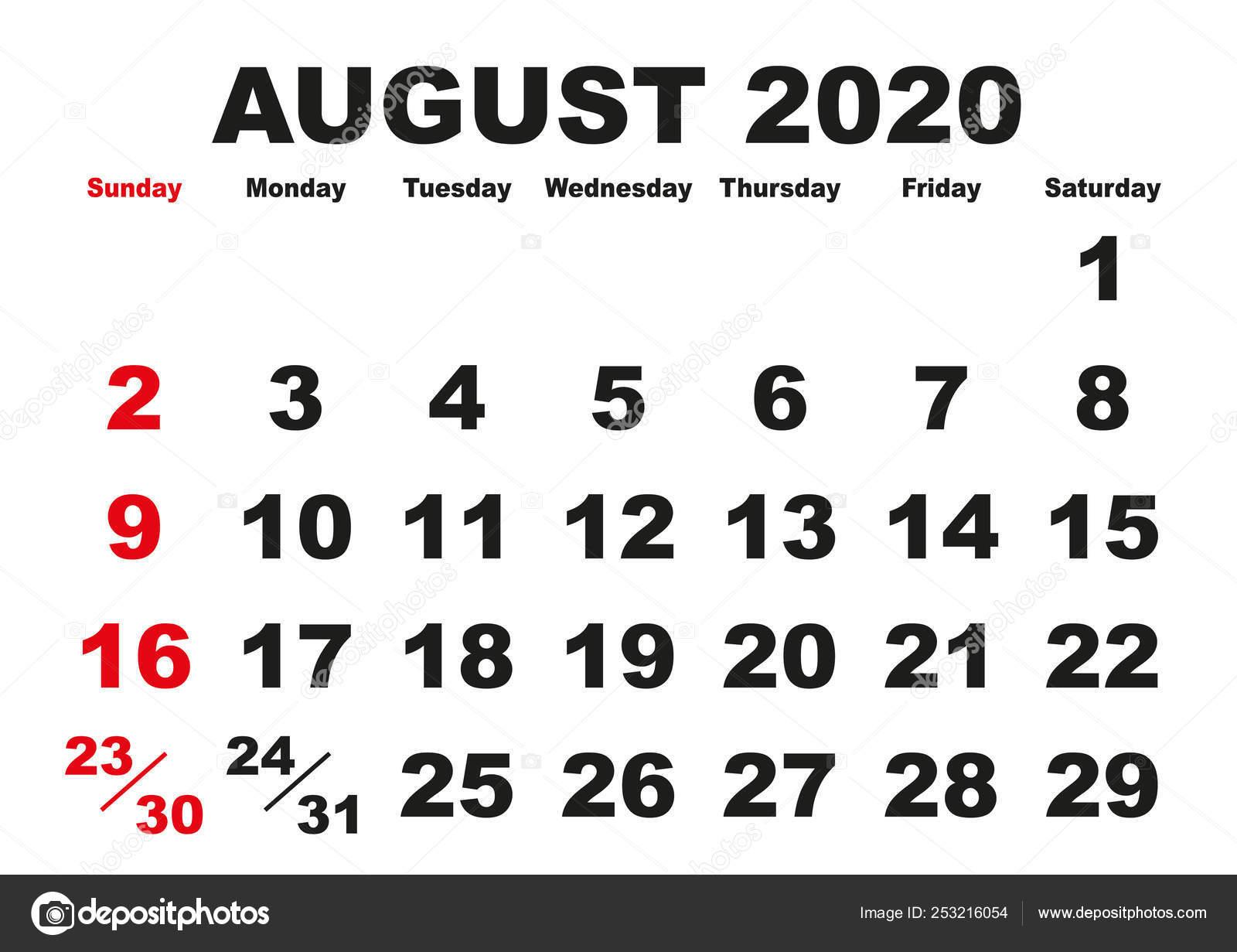 Calendario Di Agosto 2020.Mese Di Agosto Calendario 2020 Inglese Usa Vettoriali