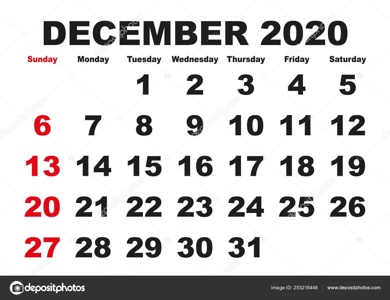 Calendario Trimestrale 2020.Calendario Mensile Dicembre 2020 Inglese Usa Vettoriali