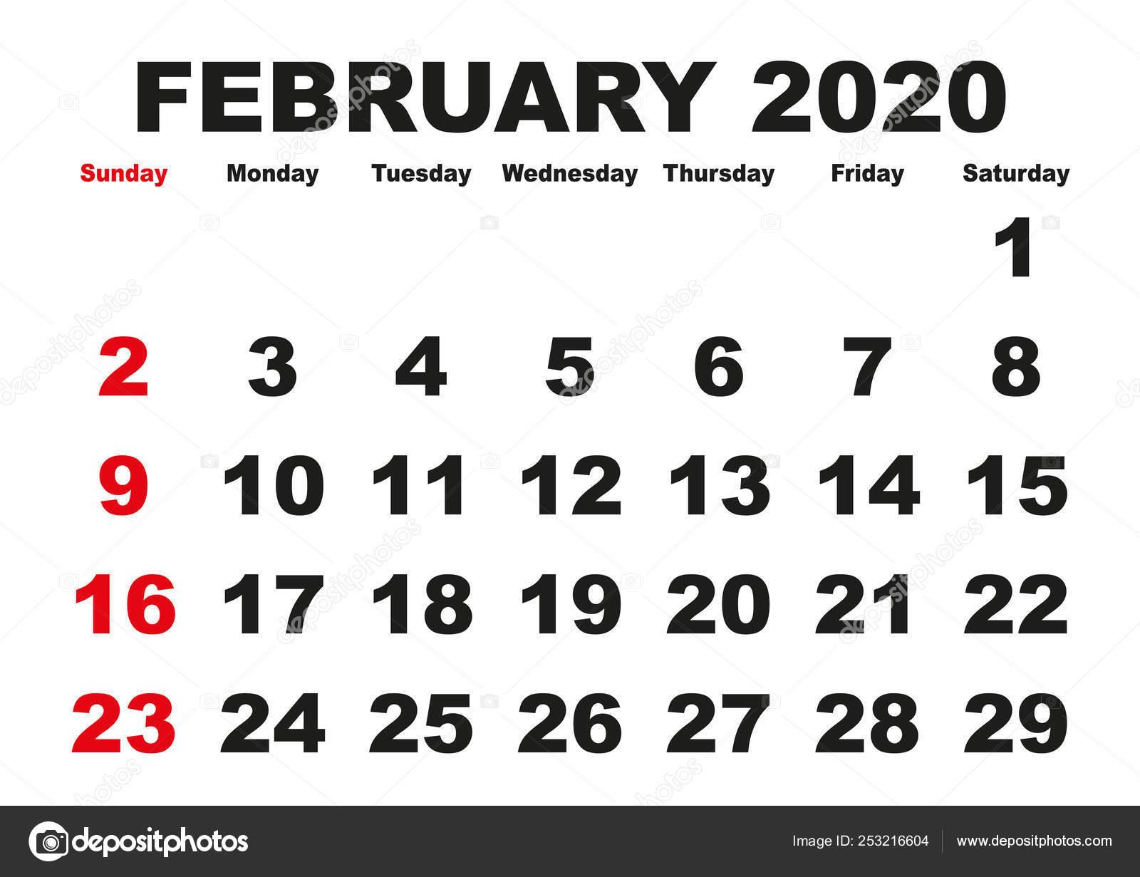 Calendario Da Tavolo 2020 Gratis.Calendario Mese Febbraio 2020 Inglese Usa Vettoriali Stock