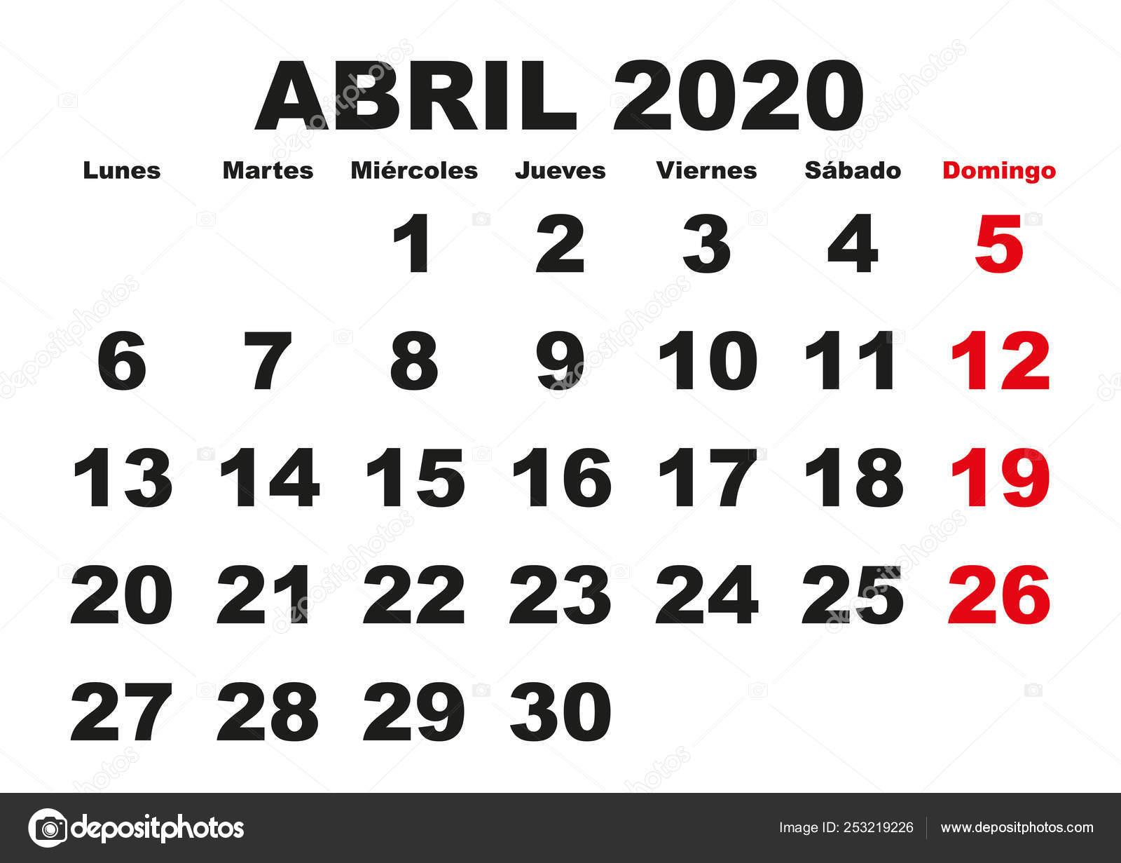 Calendario Mese Aprile 2020.Abril 2020 Parete Calendario Spagnolo Vettoriali Stock