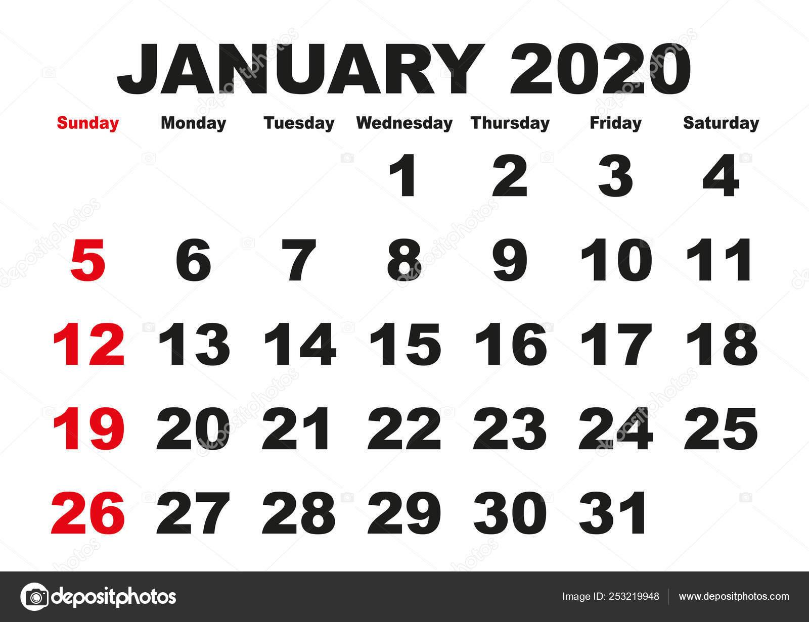 Calendario Mes De Enero 2020.Mes De Enero Calendario 2020 Usa Ingles Vector De Stock