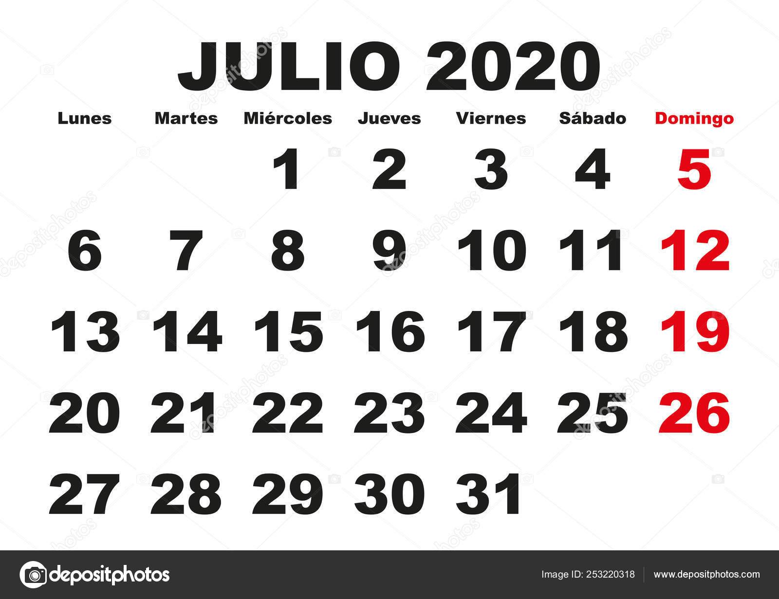 Calendario Julio 2020 Para Imprimir.Calendario De Pared De 2020 De Julio Espanol Archivo Imagenes