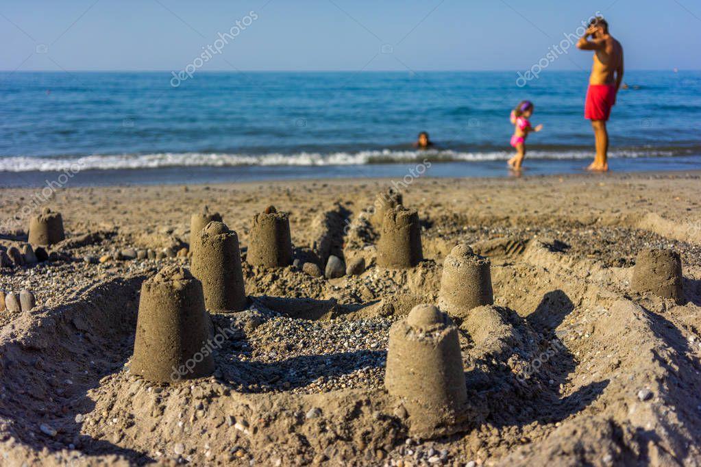 Sand castle on the beach