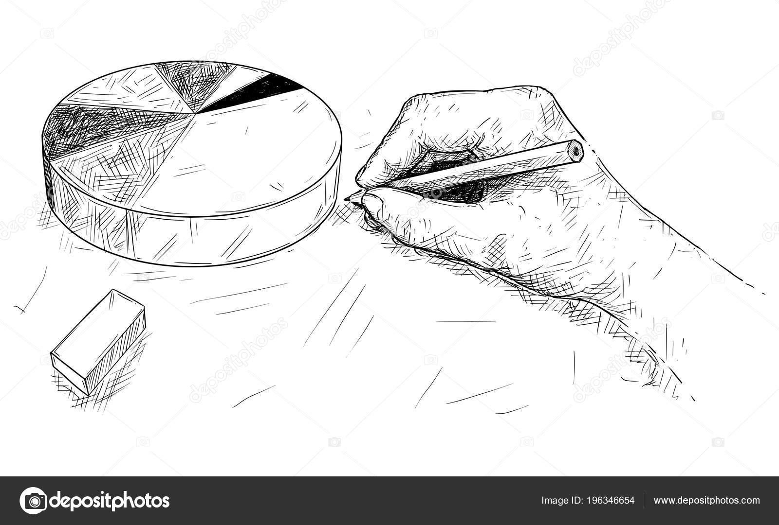 El çizimi Pasta Grafik Veya Grafik Karikatür Stok Vektör Ursus
