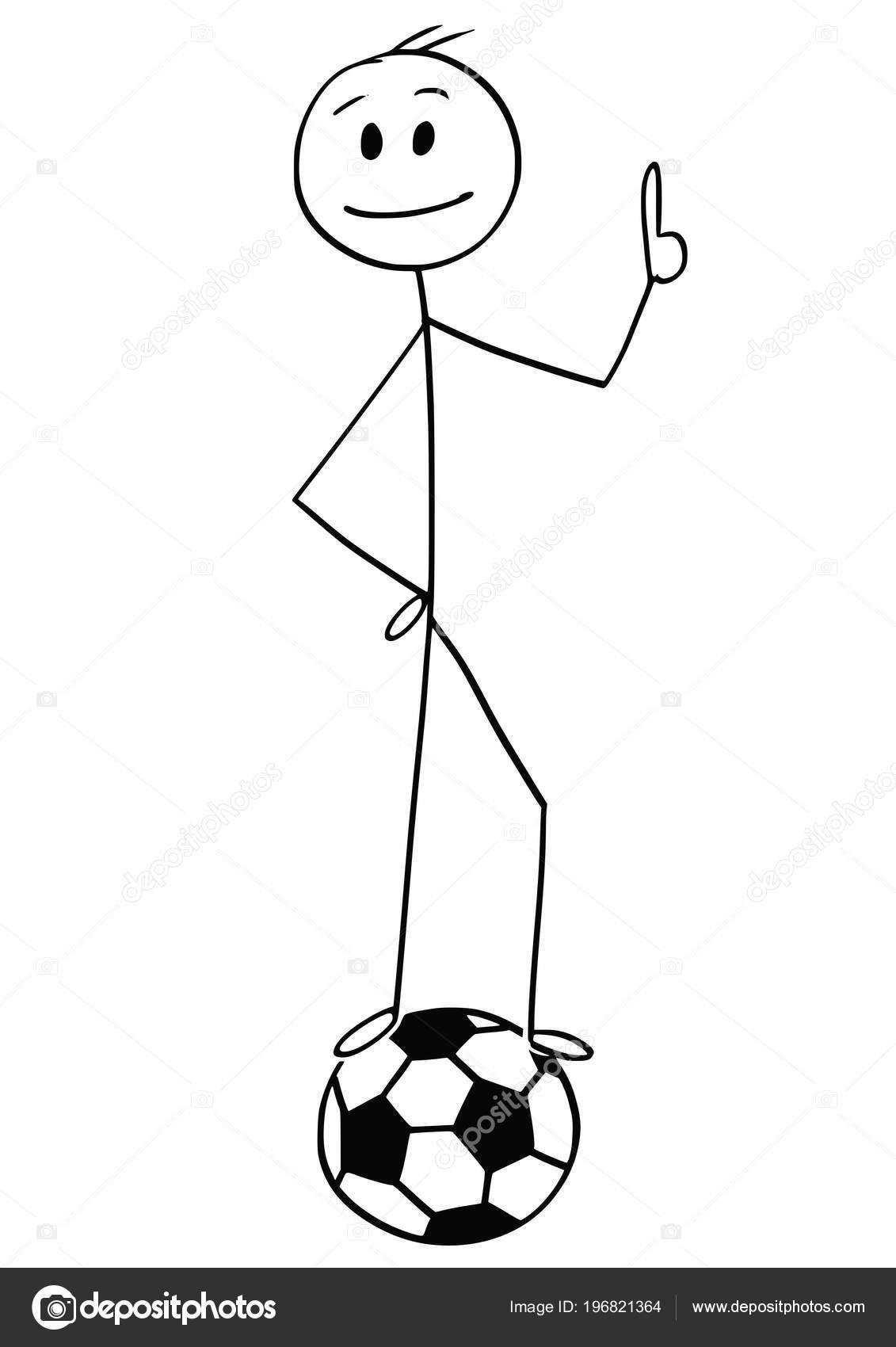 Cartoon Des Lachelns Fussball Oder Fussball Spieler Am Ball