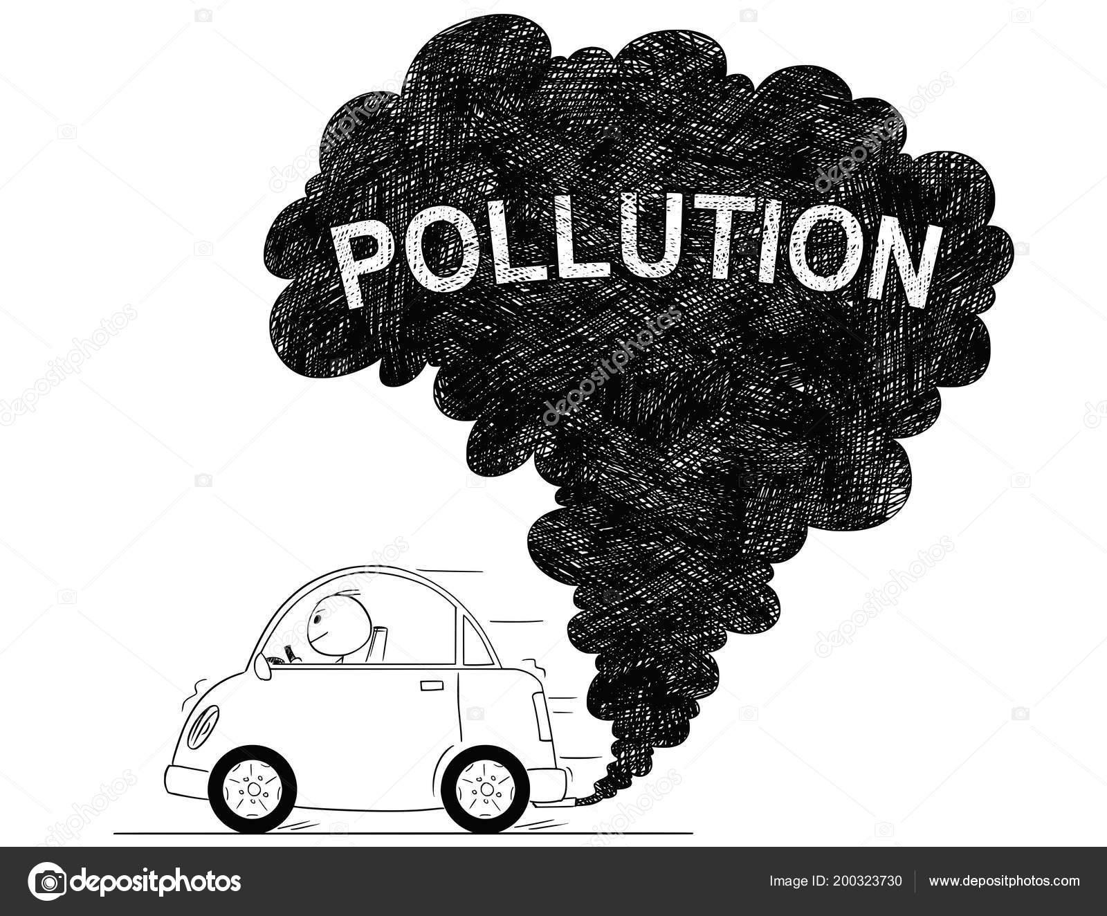 Vector illustration dessin artistique de la pollution atmosphérique de voiture image vectorielle