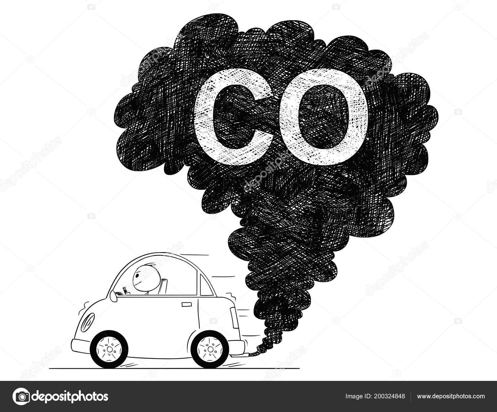 Vector illustration dessin artistique de la pollution automobile air co image vectorielle
