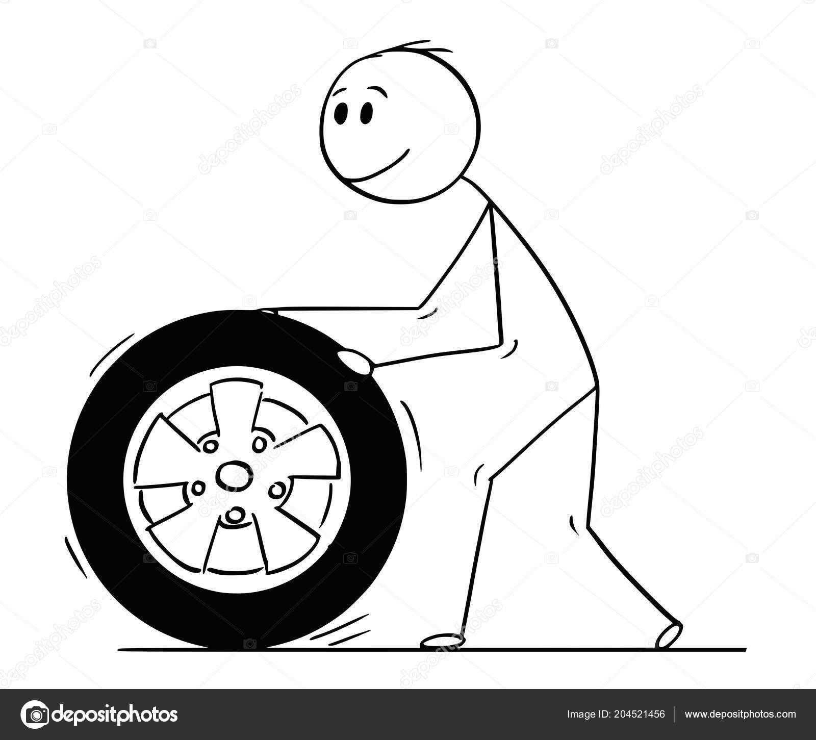 Images Car Wheels Cartoon Cartoon Of Man Rolling Car Wheel And Tyre Stock Vector C Ursus Zdeneksasek Com 204521456