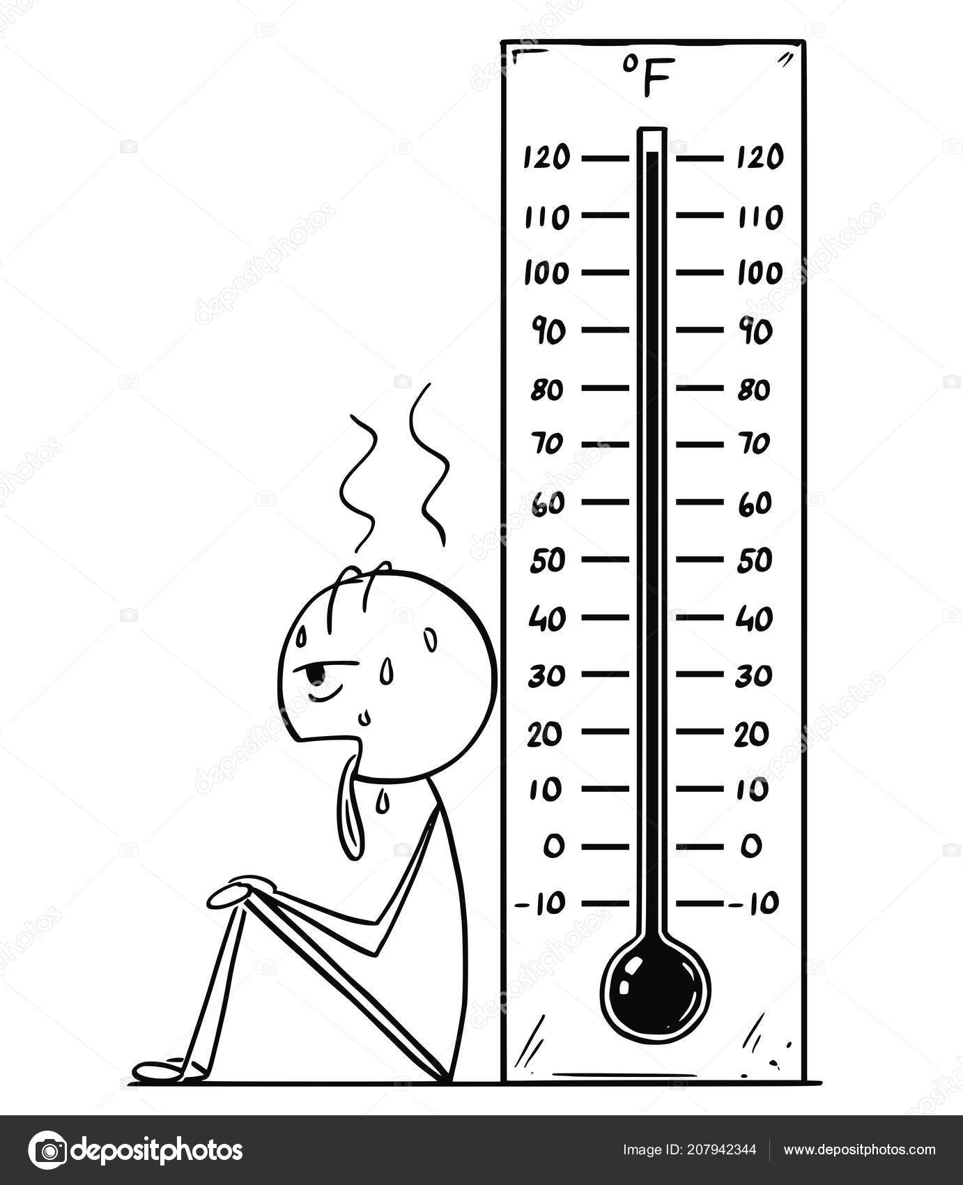 cartoon of overheated or exhausted man and fahrenheit thermometer