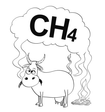 Vector Black and White Drawing or Illustration of Cow Producing Methane