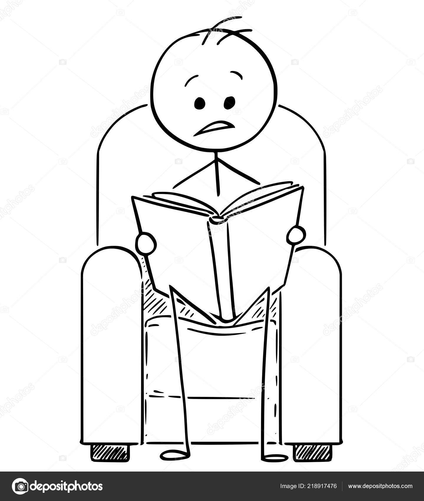 Caricature De L Homme Assis Dans Le Fauteuil Et Lire Un Livre