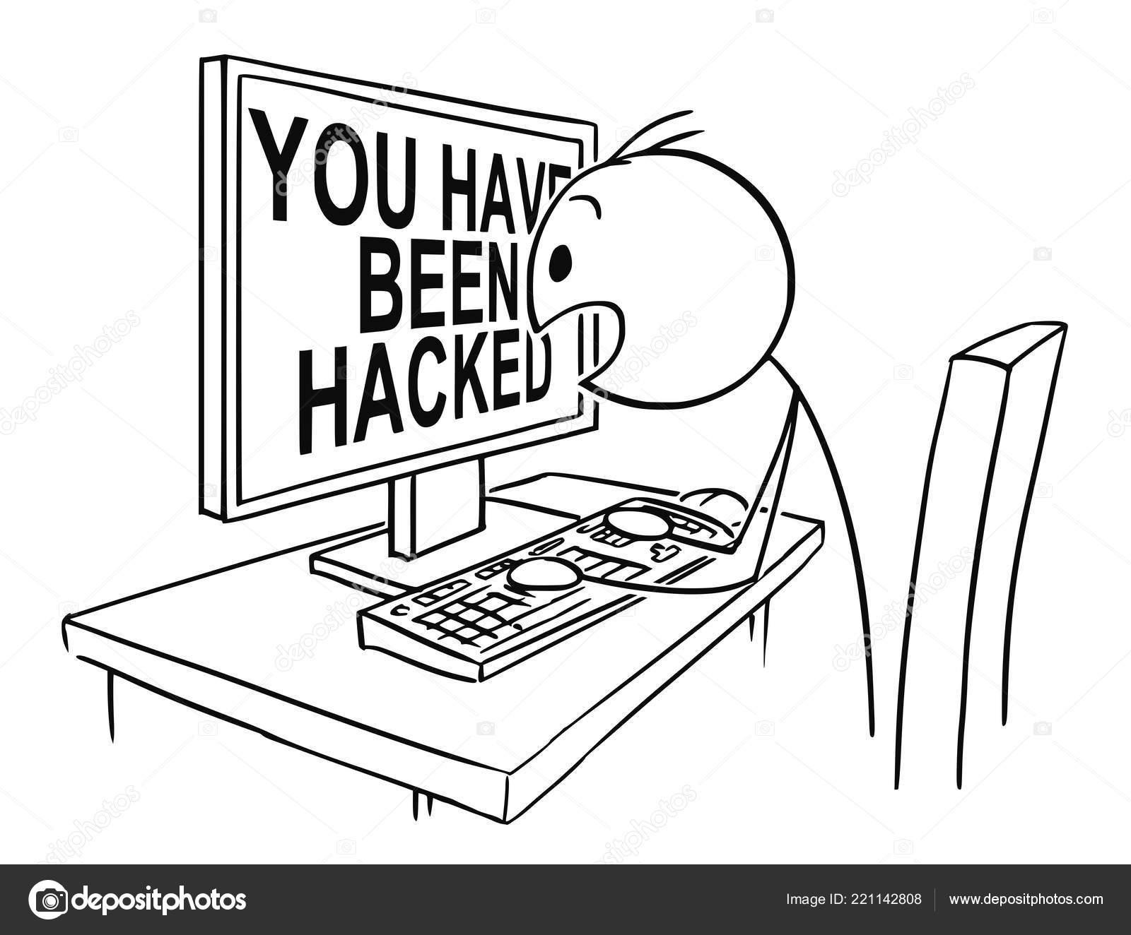 Cartoon of Man or Businessman Watching in Panic Computer