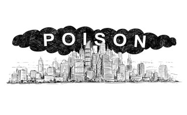Vector Artistic Drawing Illustration of City Covered by Poisonous Smoke and Air Pollution