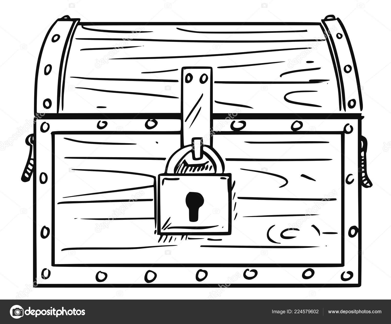 How To Draw A Treasure Box Cartoon Drawing Of Locked Antique Wooden Treasure Chest Box Stock Vector C Ursus Zdeneksasek Com 224579602