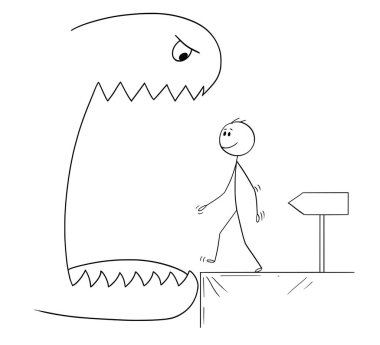 Cartoon of Smiling Man Walking in to Open Mouth of a Monster