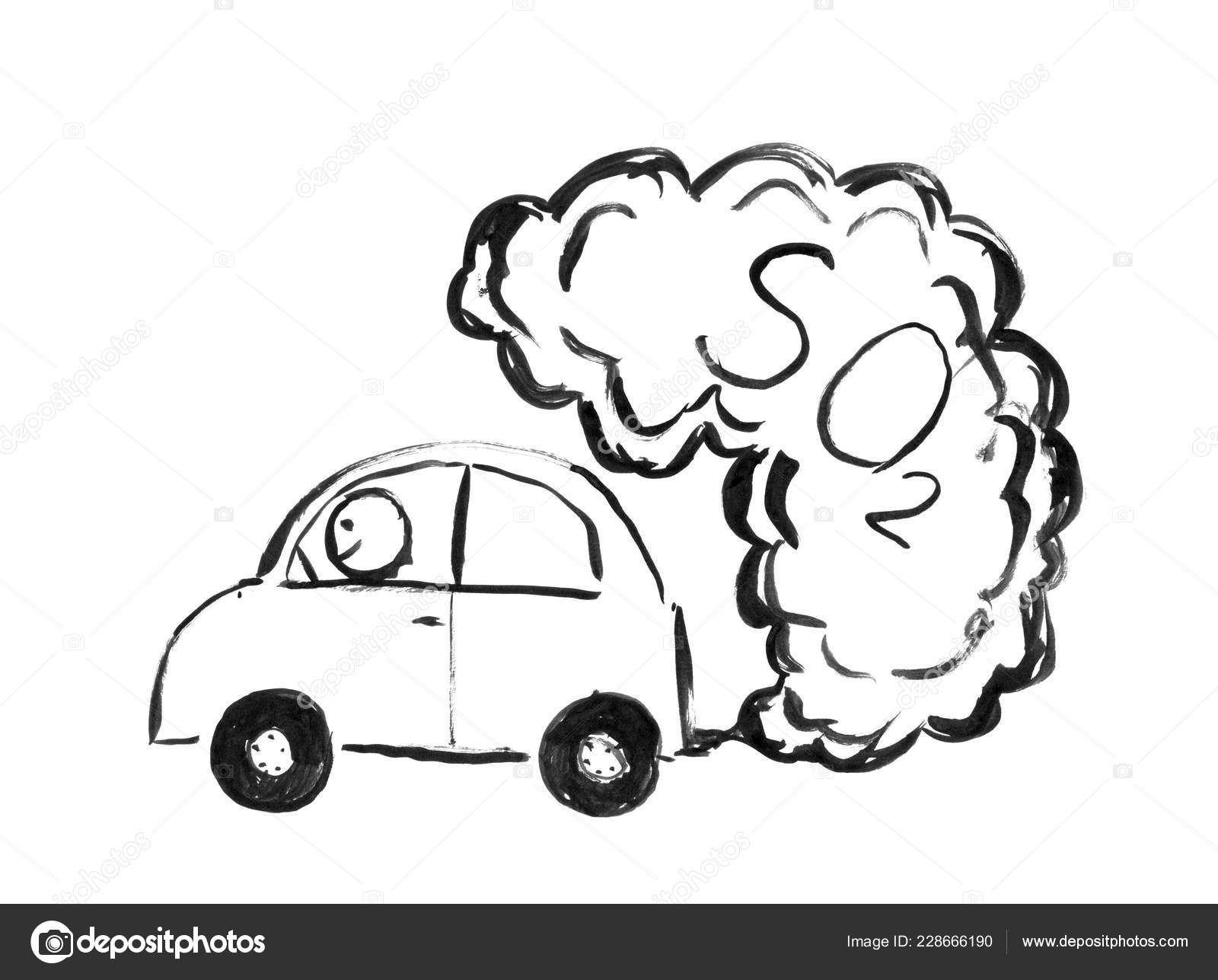 Black Ink Hand Drawing Of Car Producing So2 Air Pollution Stock