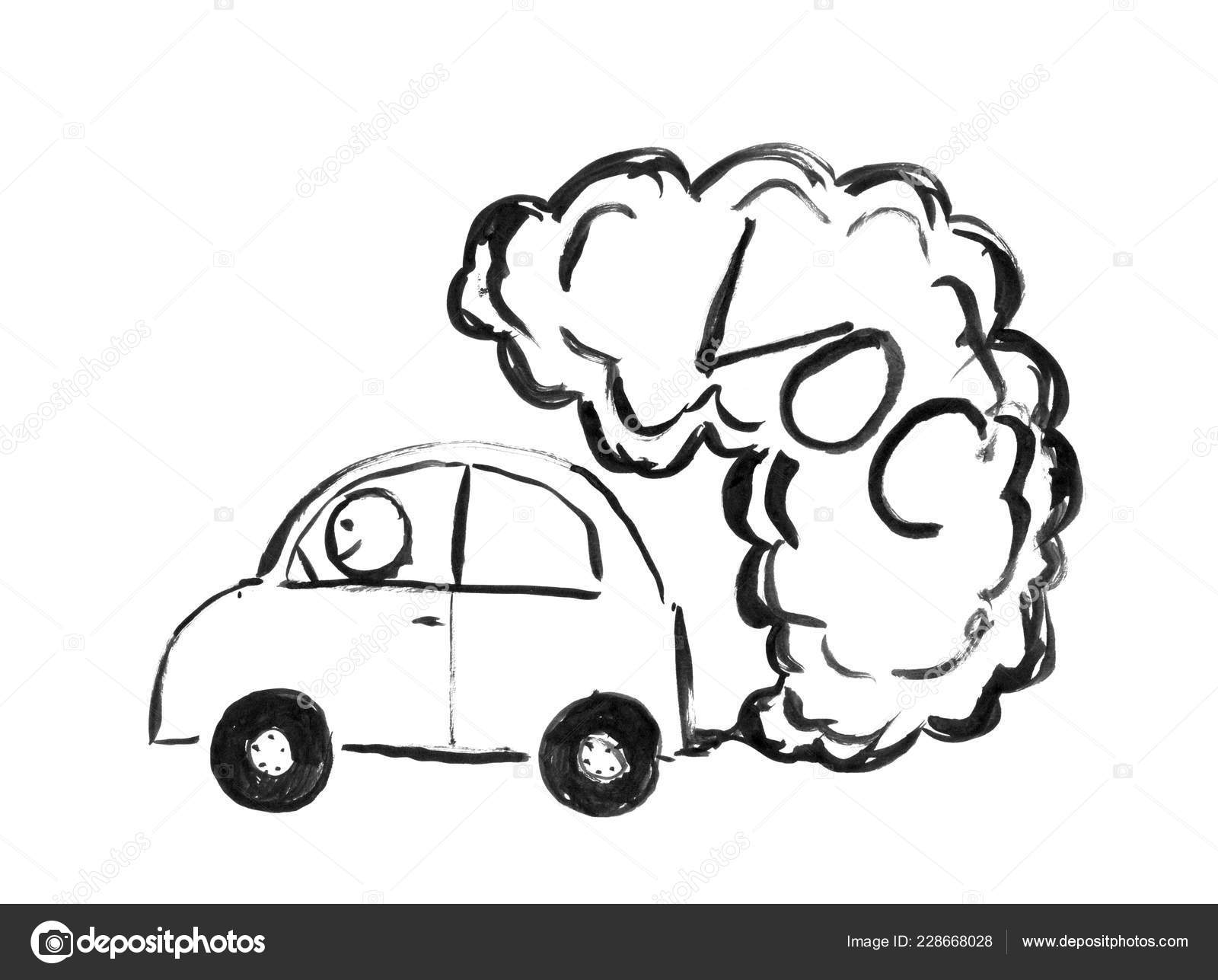 Black ink hand drawing of car producing voc air pollution