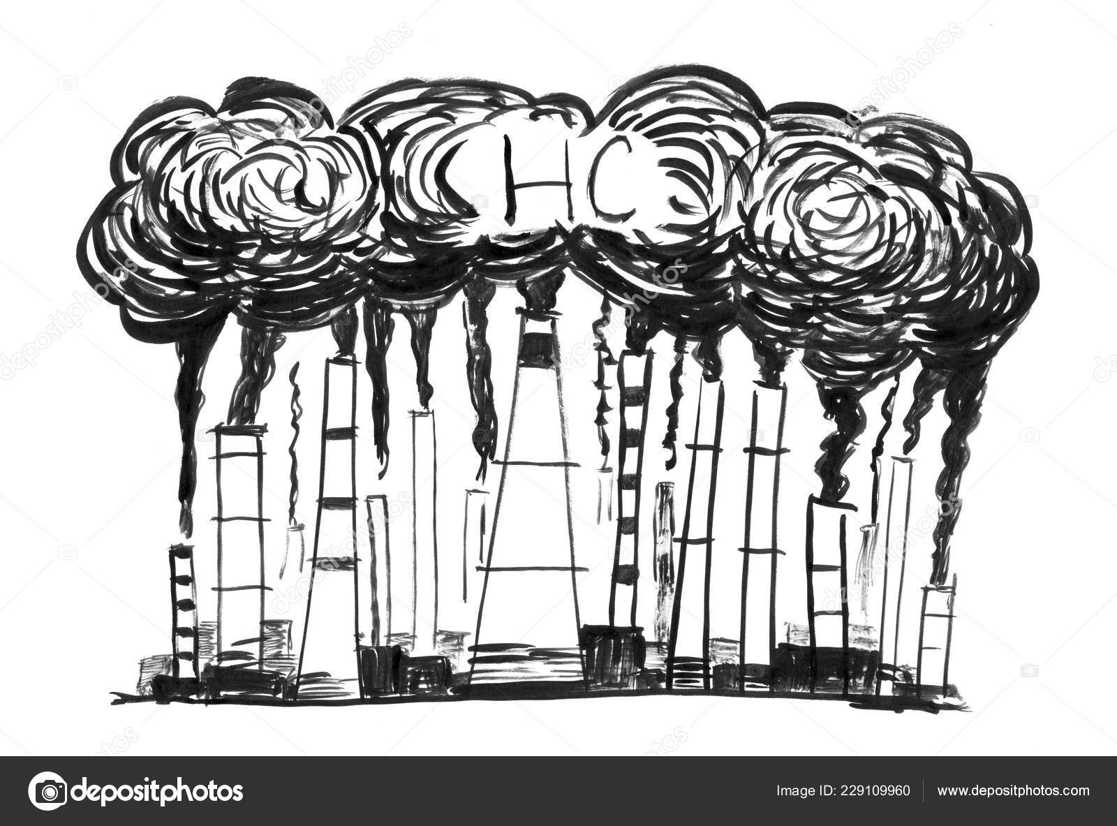 Pictures smokestacks black ink grunge hand drawing of