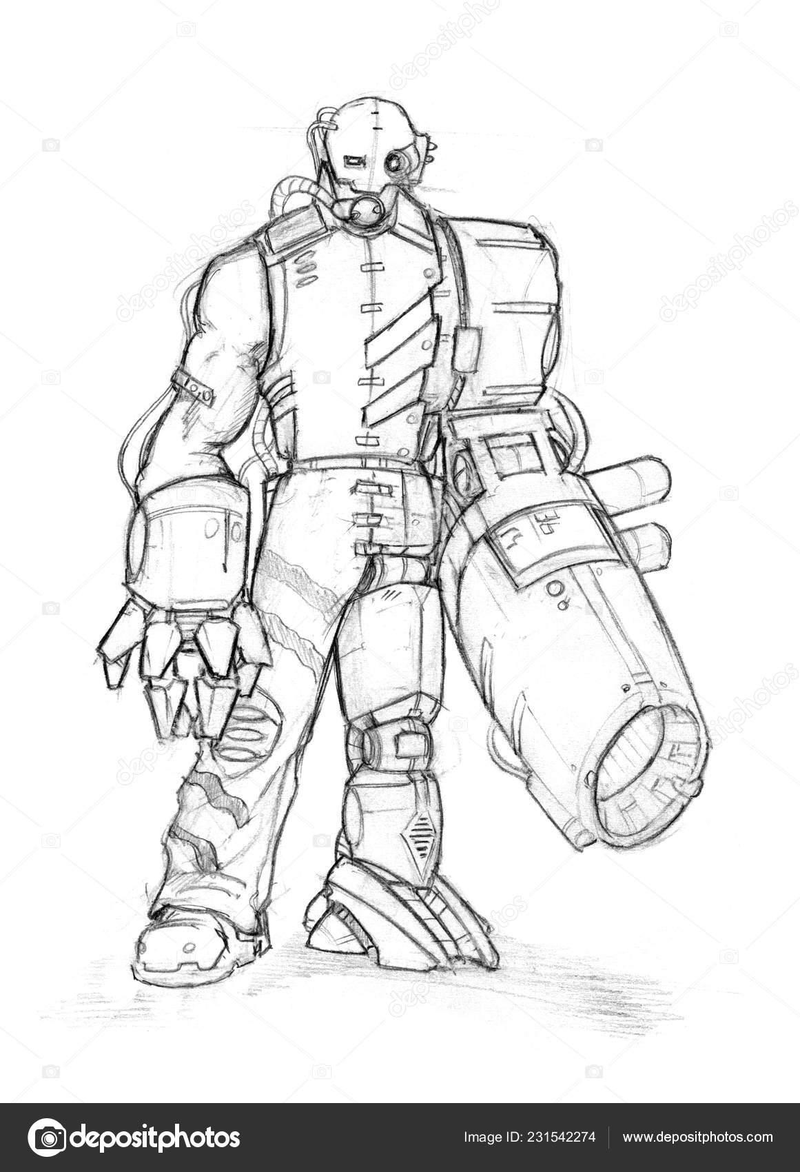 Grunge Negro Dibujo A Lápiz áspero De Cyborg Con Arma En Lugar De