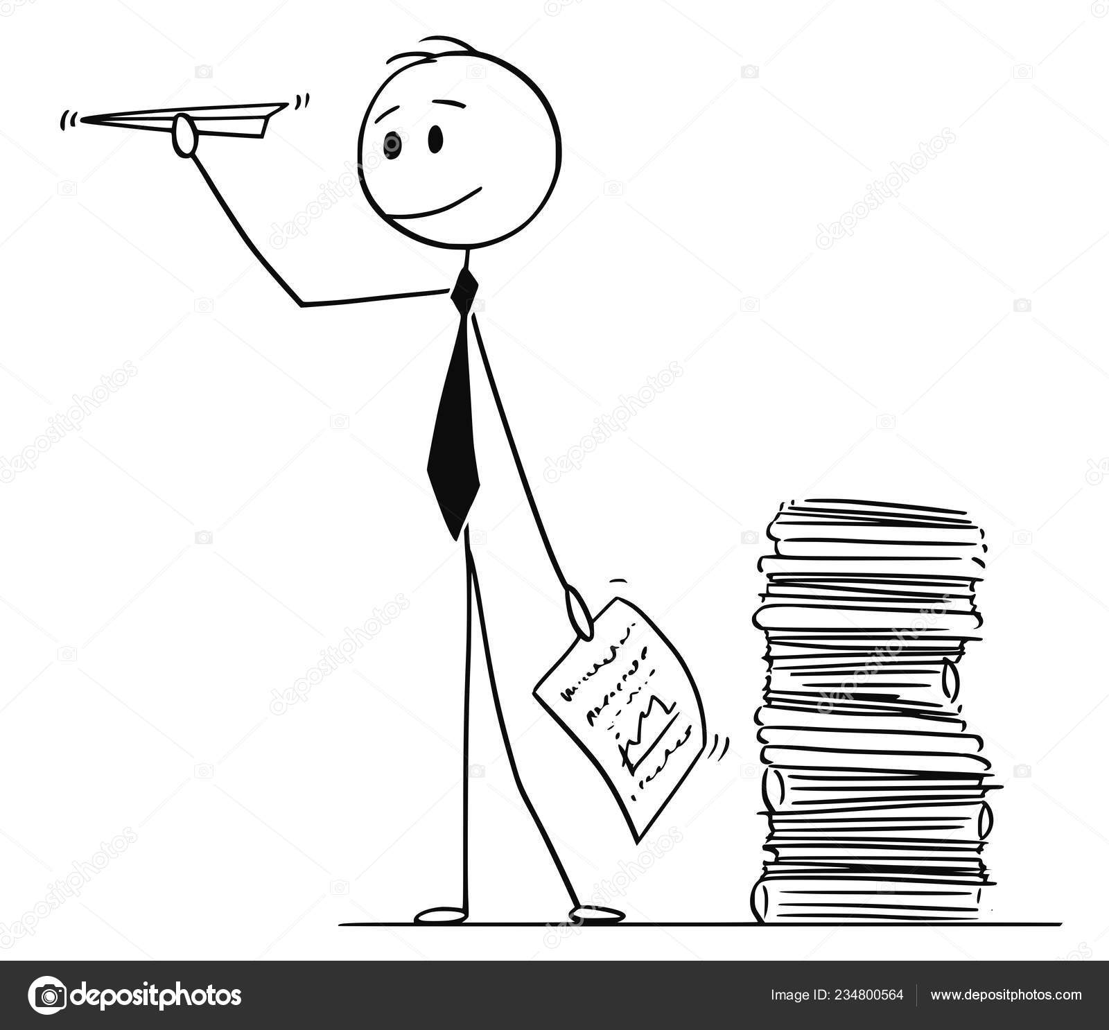 Cartoon Of Businessman Throwing Paper Airplane Made From Office